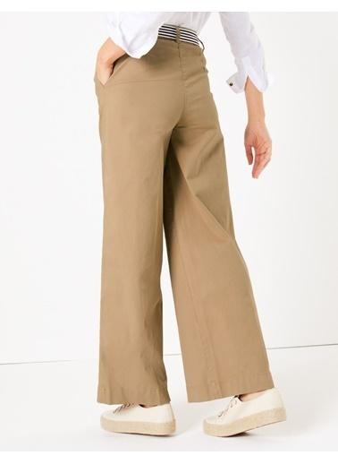 Marks & Spencer Kemerli Wide Leg Chino Pantolon Krem
